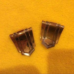 Shield shape gold tone metal shoe clips